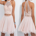 Sexy 2017 Two Pieces Nude Pink Short Cocktail Dresses High Neck Beaded Chiffon Cocktail Party Dresses