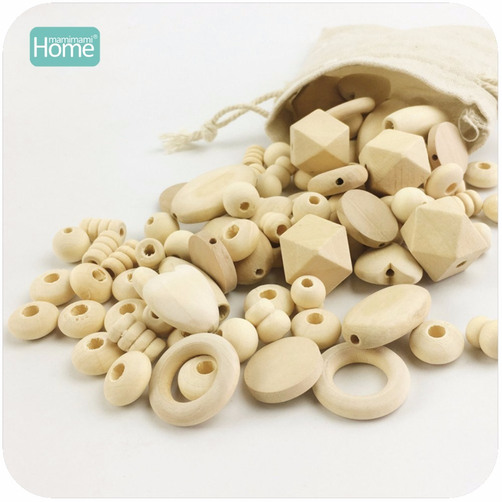 MamimamiHome Baby Rattle 300pc Block Wooden Beads Diy Pacifier Clip 10 Style Natural Baby Wood Organic Teether Beads