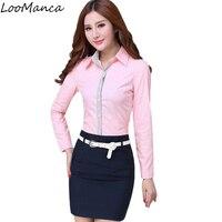 Plus Size 4XL Mode Carrière Vrouwen Shirt Blauw Roze Lange mouw Formele Slanke Elegante Chiffon Blouse Office Dames Werkkleding Top