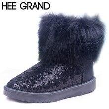 Hee Grand/Твердые блестками Тканевая обувь Дамские зимние блестящие сапоги на плоской платформе противоскользящие зимние сапоги