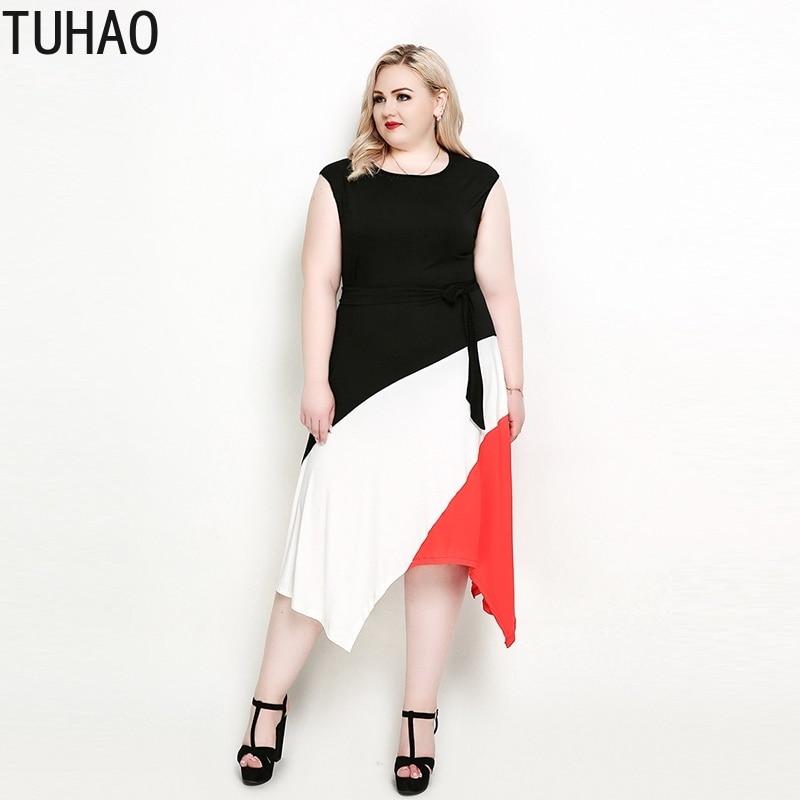 c3282fef984 TUHAO 2019 летнее платье повседневное женское свободное платье 7XL большой размер  Женская одежда Большие размеры платья
