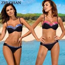 Многоцветный Купальник размера плюс, женский купальник с лямкой через шею, бикини, блестящий Летний Пляжный женский костюм с пуш-ап, два предмета, комплект бикини