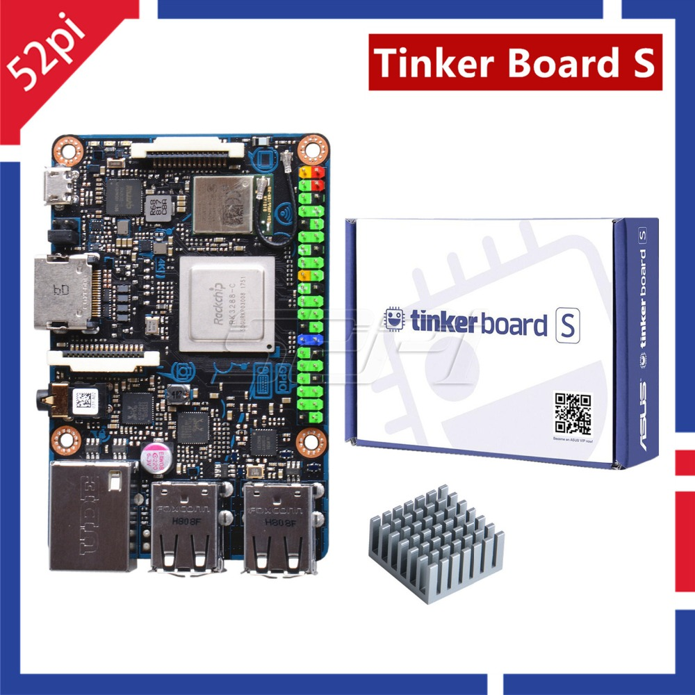 52Pi Agent! Official ASUS SBC Tinker Board S RK3288 SoC Onboard 16GB eMMC, 1.8GHz Quad Core CPU 600MHz Mali-T764 GPU, 2GB LPDDR3 official asus sbc tinker board rk3288 soc 1 8ghz quad core cpu 600mhz mali t764 gpu 2gb lpddr3 tinkerboard