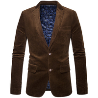 New Fashion Brand Male Winter Business Suit Jacket Coat Retro Style Slim Fit Corduroy Blazer Men Casual Elbow Design Black Brown