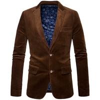 Nueva marca de moda masculina invierno traje Chaqueta estilo retro slim fit Corduroy blazer hombres casual diseño codo negro marrón