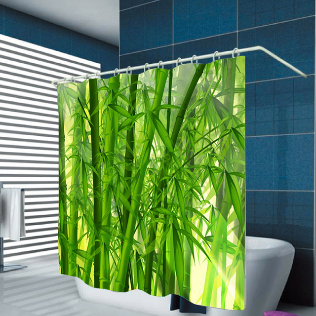 Urijk 3D Digital Green Bamboo Print Hook Waterproof Shower Curtain For Bathroom Shower Home Decoration Polyester