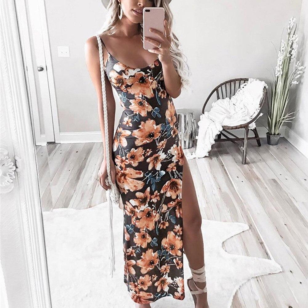 HTB1y0i7bfjsK1Rjy1Xaq6zispXaE Free Ostrich 2019 Fashion Womens Floral Printed Camis Backless Split Party Sexy Bodycon Long Dress Side Slit Vintage Long Dress