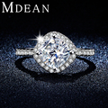 MDEAN  AAA CZ Diamond women engagement Rings Jewelry White Gold Plated Wedding Rings For Women Accessories Bijouterie MSR303