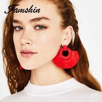 FAMSHIN Boho Drop Earrings For Women Tassel Earrings Big Statement Vintage Dangle Earrings Red Pink Black.jpg 350x350 - FAMSHIN Boho Drop Earrings For Women Tassel Earrings Big Statement Vintage Dangle Earrings Red Pink Black Blue Fashion Jewelry