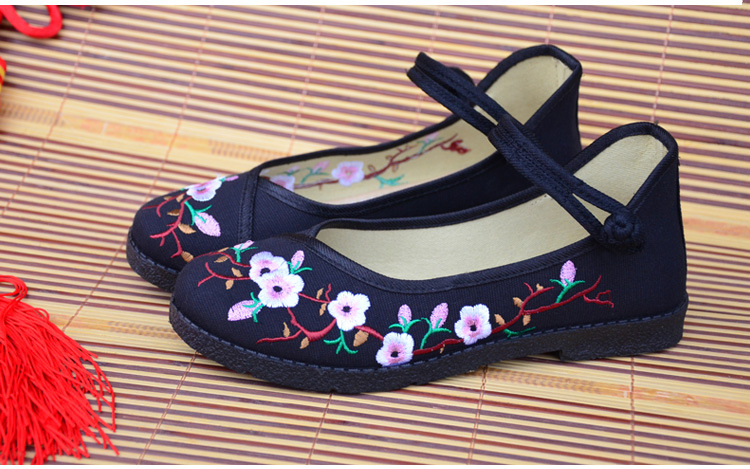 Fashion 2017 Old Peking Cloth Shoes, Chinese Style Totem Flats Mary Janes Embroidery Casual Shoes, Red+Black Women Shoes S189 (7)