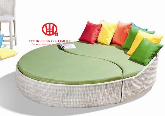 Rattan Outdoor Sun Bed Double Bed Design Furniture,garden Furniture Leisure Rattan Round Sunbed,Round Sofa Bed