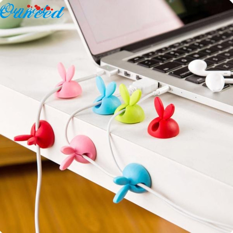 Ouneed Happy Home New 6Pcs Cable Clip Desk Tidy Wire Drop Lead USB Charger Cord Holder Secure Table