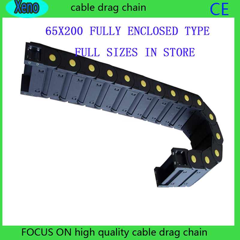 Free Shipping 65*200 1 Meter Fully Enclosed Type Plastic Towline Cable Drag Chain Wire Carrier With End Connects For CNC Machine