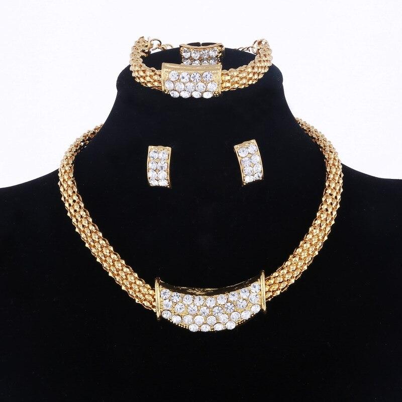 Necklace Earrings Jewelry-Sets Bracelet-Ring Romantic Dubai Gold African Wedding Color-Design