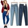 Moda americano do Vintage Harem calças de lavagem com água calças Jeans feminino