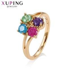 Xuping cztery Multicolor bryłka lodu złoty Colr pozłacany pierścień środowiska miedzi biżuteria w stylu europejskim prezenty S137,8-15197