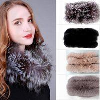 Stylish Winter Warm Genuine Fox Fur Wraps Women Ring Real Fur Wraps Soft Fashion Shawls
