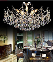 Современные Кристалл фойе Люстра Хромированная Отделка 4 размер крытый Светильник для кафе-бар гостиная столовая деко люстры