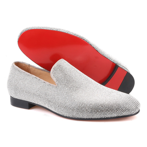 Image 5 - Piergitar brand 2019 Luxurious Handmade Sliver Diamond Men Shoes Wedding and Party Men Loafers red bottom Smoking Slippers