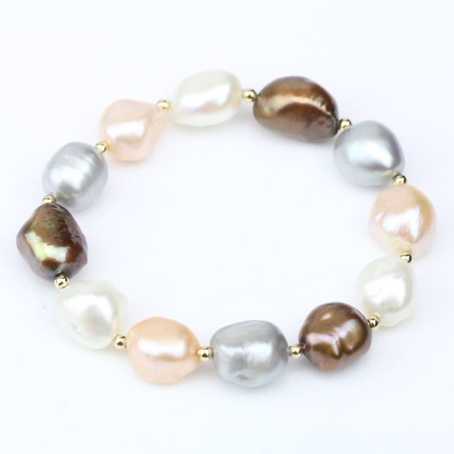 Multicolor Pearl Bracelets For Women Fashion Cultured Freshwater Bracelet Nugget Baroque With Gold Elastic