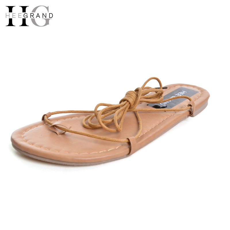 HEE GRAND Lace-Up Flip Flops Summer Gladiator Sandals 2016 Casual Shoes Woman Solid Slip On Flats Fashion Women Shoes XWZ2628 hee grand lace up gladiator sandals 2017 summer platform flats shoes woman casual creepers fashion beach women shoes xwz4085