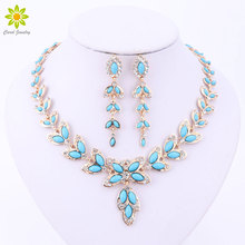 Jewelry Sets For Women Crystal Necklace Earrings Set African Beads Gold/Silver Plated Leaves Shape Jewelry