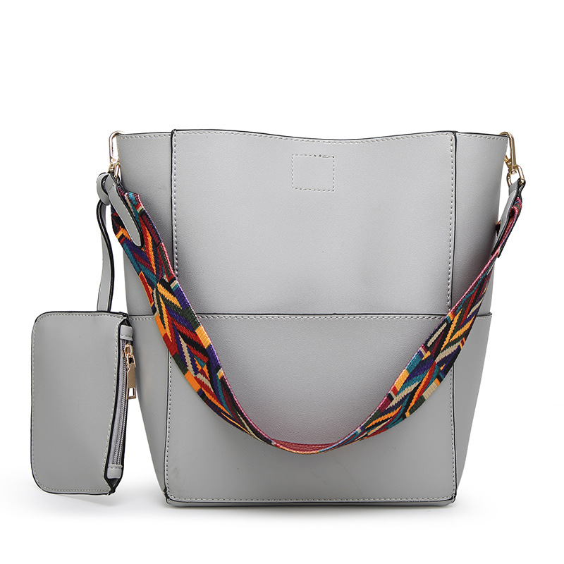 High Quality Pu Leather Shoulder Bag Brand Desinger Ladies Casual Tote vintage Colorful Strap Bucket Bag Women shopping Bags