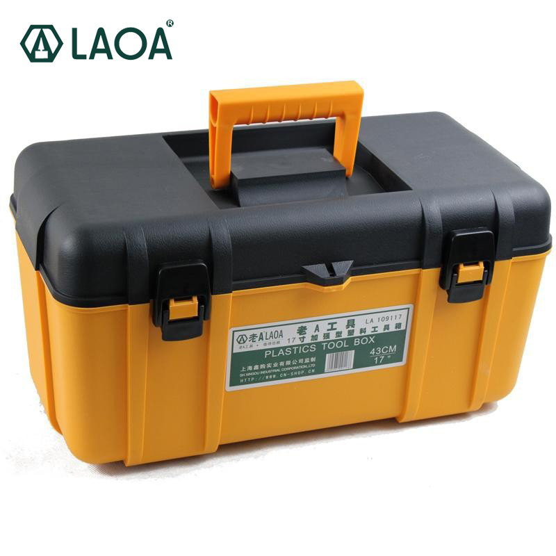 LAOA PP Material Thicken Tool Box Yellow&Black Strengthen Tools Case With Inner Layer new hot material leather cutting hammer with strengthen pe wooden craft stamping tool