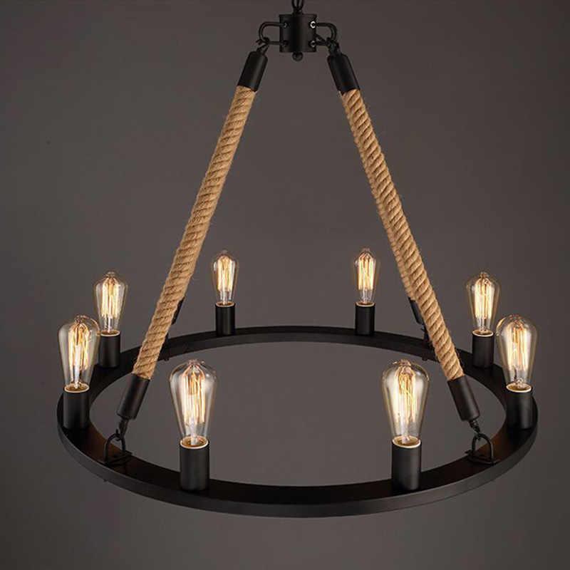 Подвесной светильник Ретро пеньковая 6 8 головок промышленная ветровая Подвесная лампа для гостиной гостиничный зал Бар Магазин для учебы подвесное освещение G142