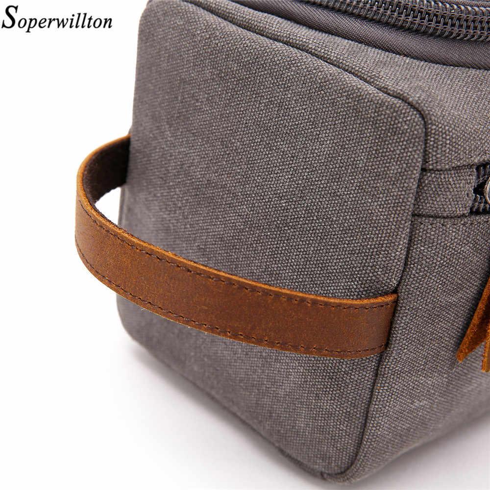 Soperwillton мужская дорожная сумка для туалетных принадлежностей 2019 сумка для ночного белья упаковка кубиков сумки Органайзер для мужчин холщовая кожаная дорожная сумка #601