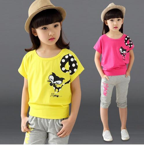 2017 New Design Girl Clothing Set Short t-Shirt + Pants Kid Clothing Set Cartoon Pattern Children Clothing Set Vest Summer Syle
