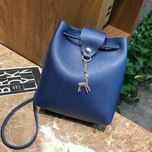 купить New Ladies Shoulder Bag PU Leather Fawn Pendant Shoulder Bags Portable Fashion Crossbody Bag Lovely Mini Lady Mobile Phone Bag по цене 585.53 рублей