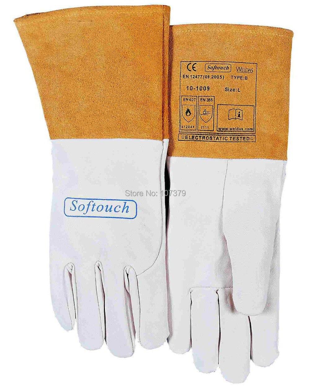 TIG MIG Work Glove Grain Goat Leather Welding Safety Glove mig mag burner gas burner gas linternas wp 17 sr 17 tig welding torch complete 17feet 5meter soldering iron air cooled 150amp