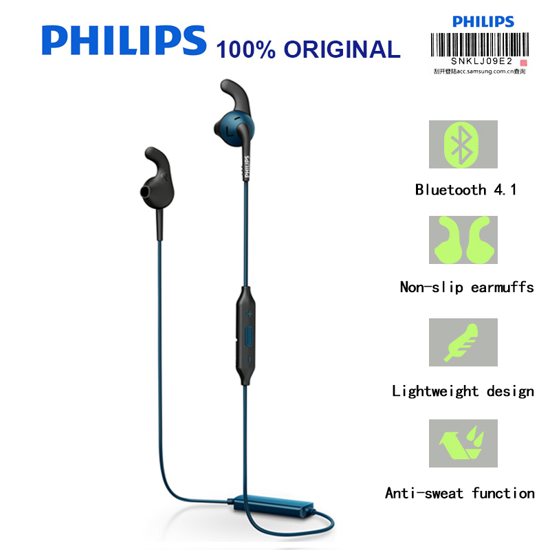 Philips SHQ6500 Neckband Bluetooth Wireless Headphones Earphone Bass Waterproof Headset with Microphone for Iphone X цена