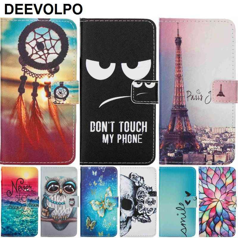 DEEVOLPO Phone Case For Huawei Mate 9 Mate9 P8 Lite P9 Lite 2017 Capa PU Leather Wallet Stand Skeleton Fundas Lotus Cover DP03Z