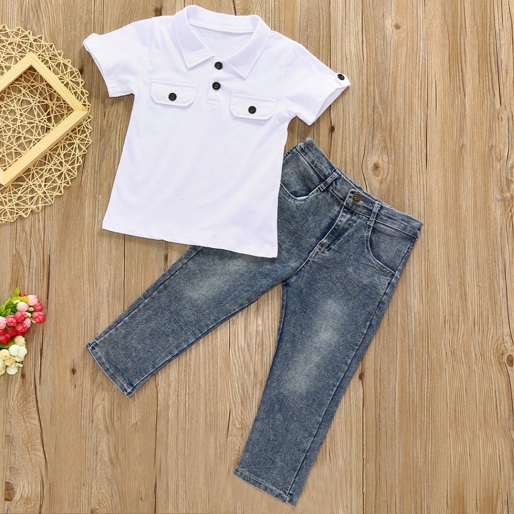 Children Clothing 2018 Boy Clothing Set Kids Tops+Long Pant 2Pcs Clothes Sets Children Tracksuit Costume 2017 cute kids girl clothing set off shoulder lace white t shirt tops denim pant jeans 2pcs children clothes 2 7y