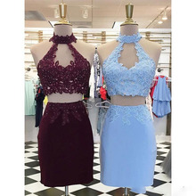 Tight Short Burgundy/Blue Homecoming Dresses Two Pieces Appliques Beaded Key Hole Prom Graduation And Back To School