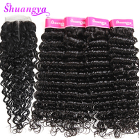 Brazilian Deep Wave Hair Human Hair Bundles With Closure Middle Part 3 Bundles With Closure
