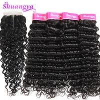 Brazilian Deep Wave Hair Human Hair Bundles With Closure Middle Part 3 Bundles With Closure Shuangya