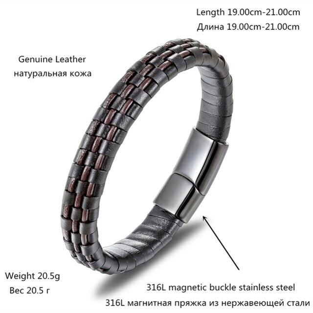 Новый креативный кожаный браслет сплетенный из нержавеющей стали