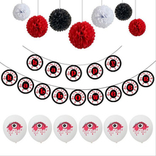 Happy Halloween Balloons Set Decoration Pumpkin Ghost Horror Eye Charm Foil Banner Party Supplies