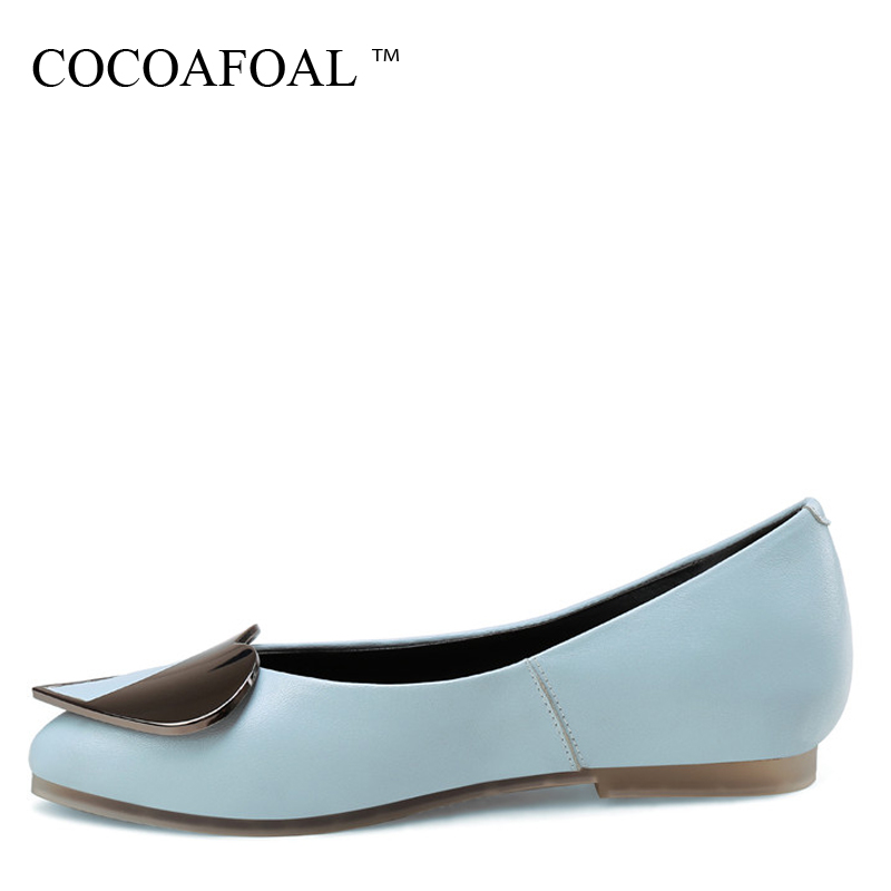 COCOAFOAL Woman Blue Loafers Spring Autumn Fashion Black White Plus Size 34 - 43 Shoes Casual Oxfords Genuine Leather Flats 2018 keaiqianjin woman genuine leather shoes spring autumn black brown loafers shoes lazy plus size flats genuine leather loafers