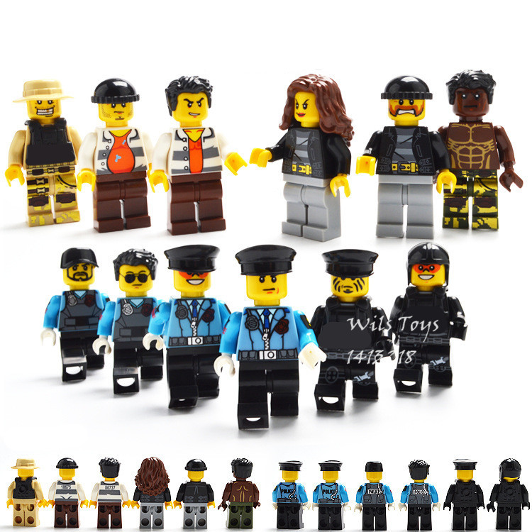12pcs City Police Military Profession WW2 SWAT Soldiers Army Forces Building Blocks Bricks Figures Doll Toys for Boys Children military city police swat team army soldiers with weapons ww2 building blocks toys for children gift