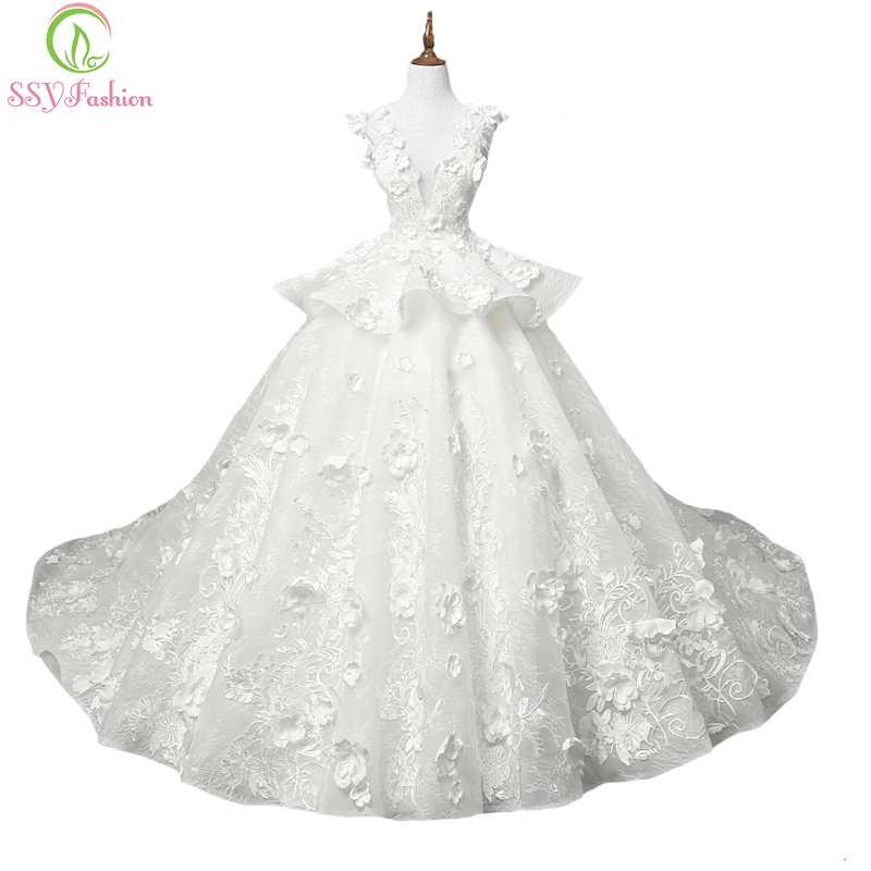 SSYFashion New Luxury Court Train Lace Wedding Dress The Bride Priness Married Appliques Floor-length Ball Gown Vestido De Novia