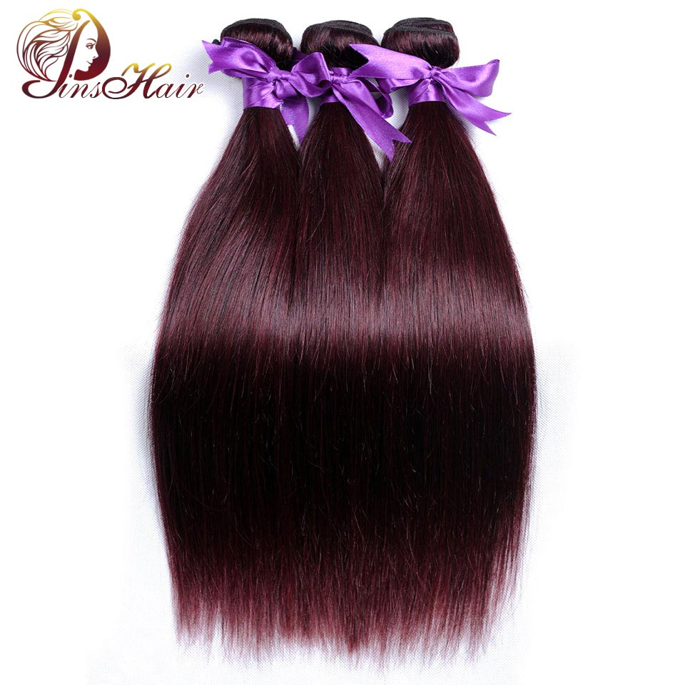 Pinshair Pre-colored Burgundy 3 Bundles Straight Brazilian Hair Bundles Red Non-Remy 100% Human Hair Weave Thick Hair Extensions ...