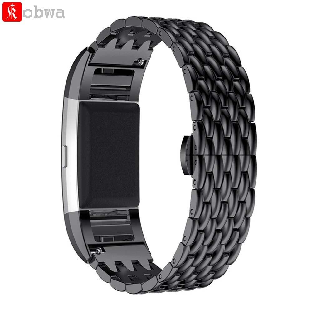 imágenes para De Acero inoxidable Pulsera Para Carga 2 Venda de Reloj de la Correa de Reemplazo Genuino para Fitbit Fitbit Cargo 2 inteligente Correa de accesorios