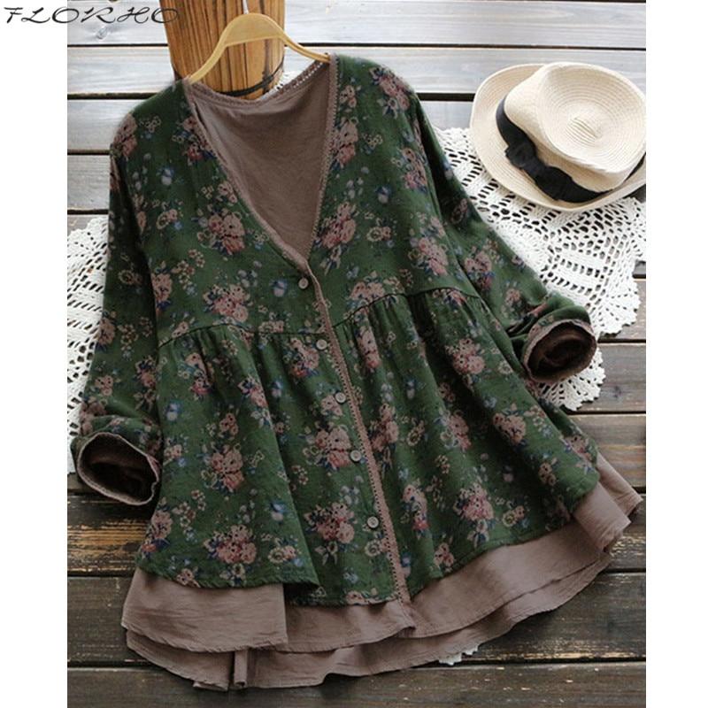 FLORHO Women Floral Blouse Vintage Lace Shirt V-Neck Female Button Cardigan Cotton Shirt Floral Tops Blusa Feminina Plus Size 5X