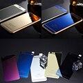 Frente + voltar Metal chapeamento de vidro efeito espelho película protetora da cor para o iPhone 4S 5 5S 6 6 s plus cobertura completa protetor de tela