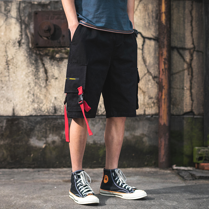 Streetwear Summer Cargo   Shorts   Men Cotton Casual Pockets bermuda Male   Shorts   Ribbons Hip Hop Beach Men's   Shorts