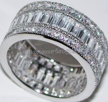 Victoria Wieck Engagement Jewelry Princess cut 20ct Topaz simulated diamond 14KT White Gold Filled Wedding Band Ring Sz 5-11